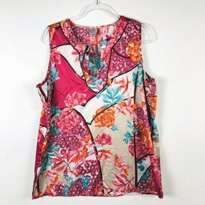 N Natori Sz XL Floral Sleeveless Satin Pajama Top
